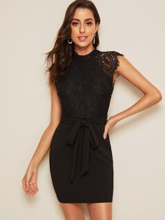 Lace Bodice Belted Bodycon Dress