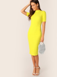 Neon Yellow Mock-neck Pencil Dress