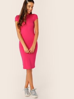 Neon Pink Mock-neck Pencil Dress