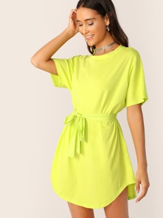 Neon Lime Curved Hem Belted Solid Tee Dress