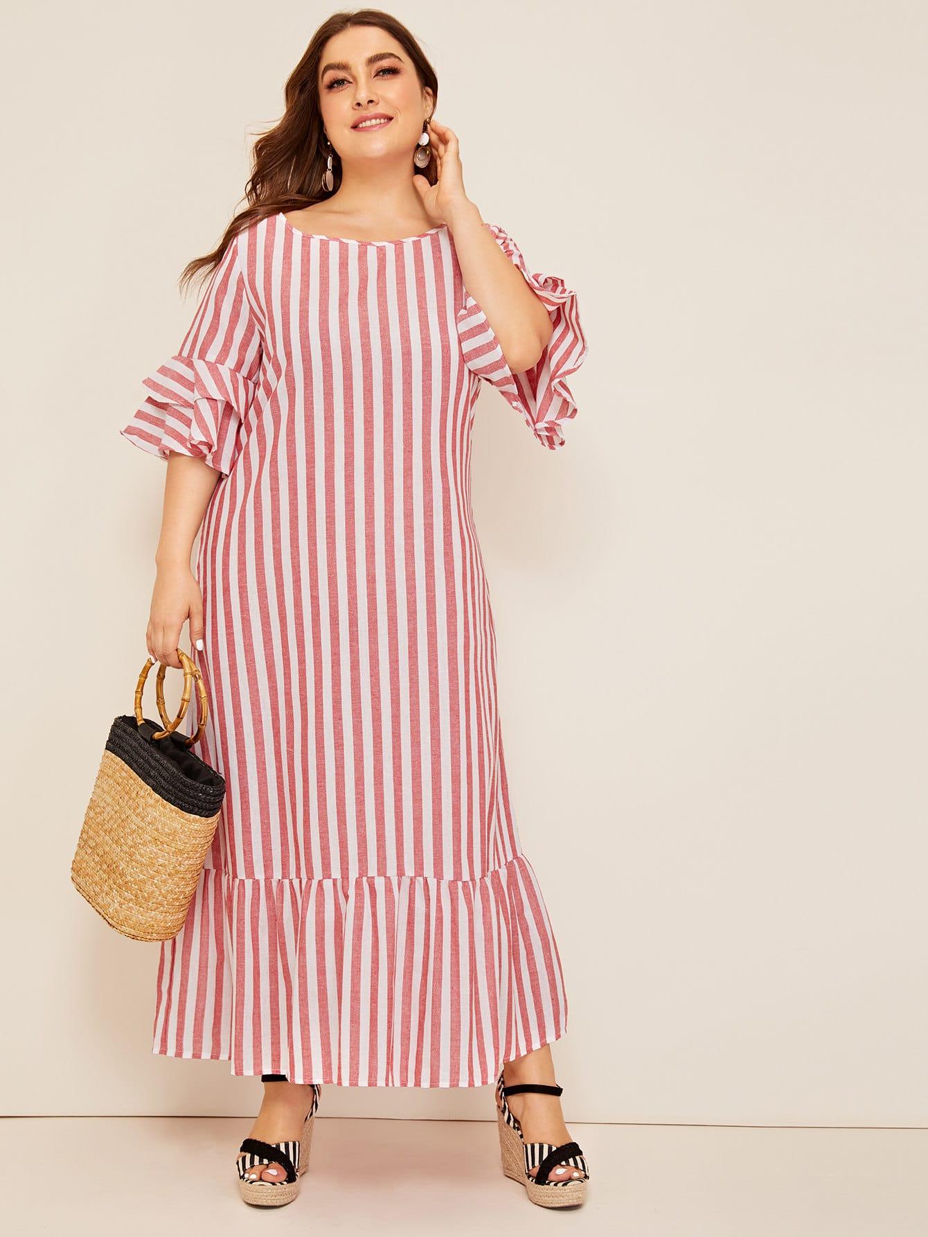 Фото - Размер плюс полосатое платье с оборкой и оригинальным рукавом от SheIn цвет красные