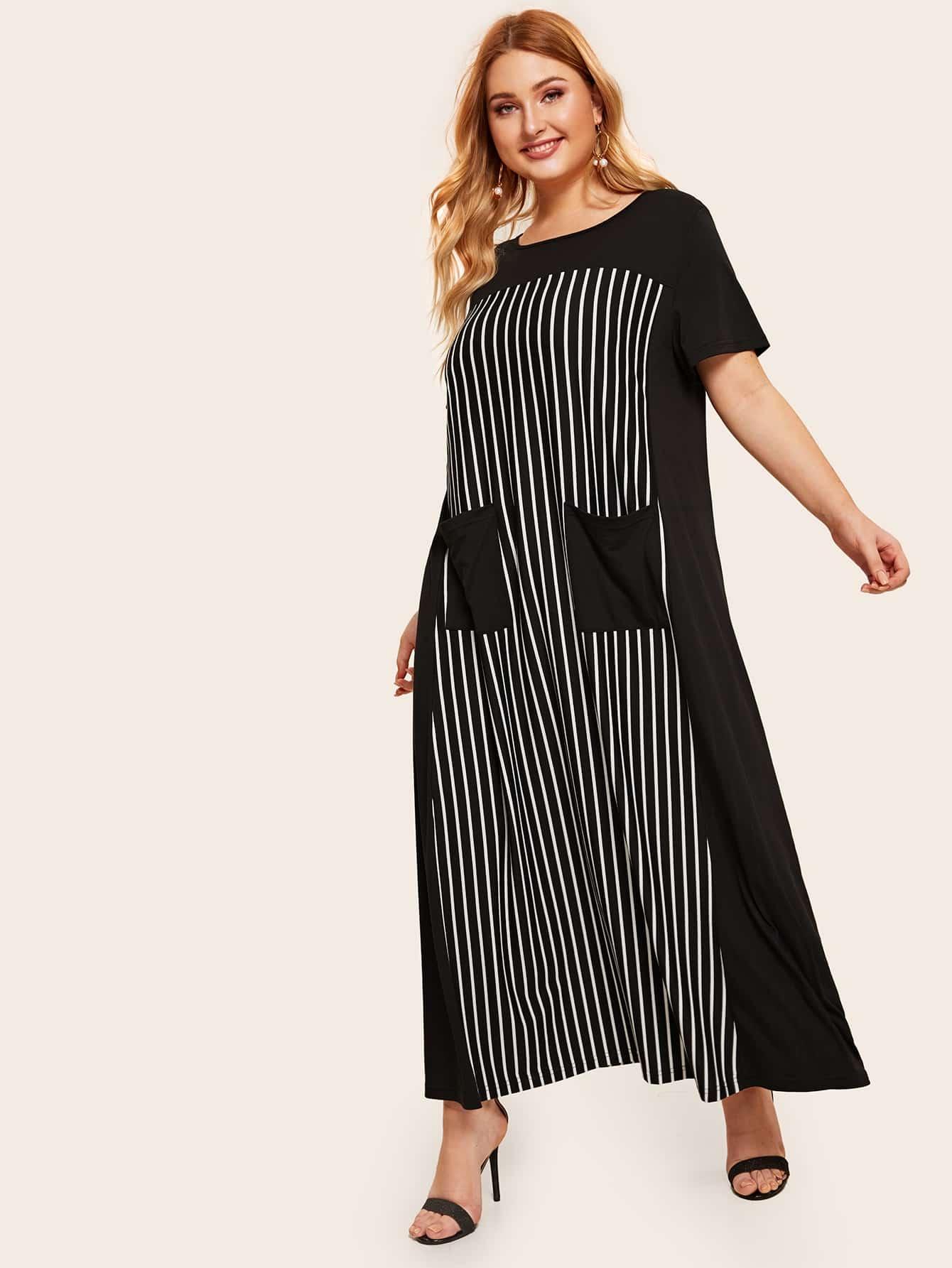 Фото - Полосатое платье размера плюс с карманом от SheIn цвет чёрные