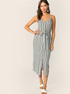 Striped Button Front Belted Slip Dress