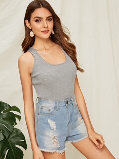 Solid Rib-knit Form Fitting Tank Top