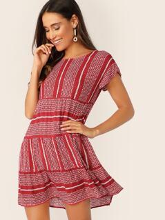 Leaf Branch Print Tunic Dress
