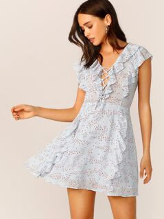 Ruffle Trim Lace Up Front Ditsy Floral Dress