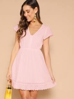 Half Button Scallop Hem Schiffy Flare Dress