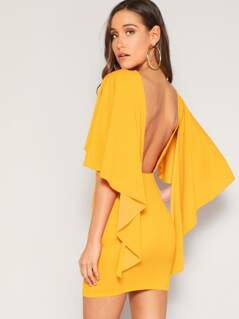 Cape Sleeve Backless Bodycon Dress