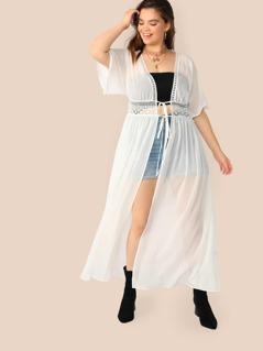 Plus Knot Waist Lace Insert Kimono