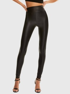 Wide Waistband Leather Look Leggings