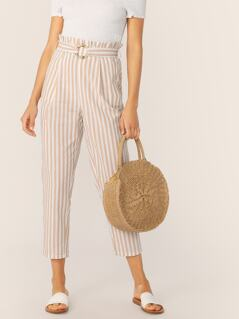 Paperbag Waist O-ring Belt Striped Pants
