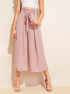 Knot Waist Fold Pleat Wide Leg Pants