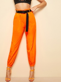Neon Orange Slant Pocket Push Buckle Belted Pants