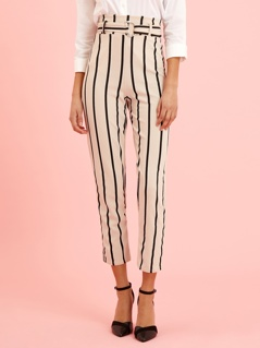 D-ring Belt Detail High Waist Striped Pants