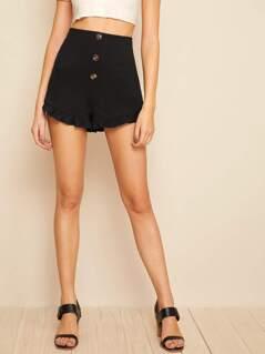 Button Fly Frilled Hem Shorts