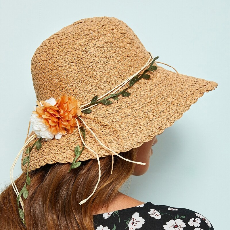 Flower & Leaf Lace Up Cloche Hat, Khaki
