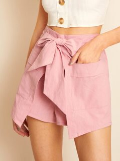 Tie Waist Wrap Shorts