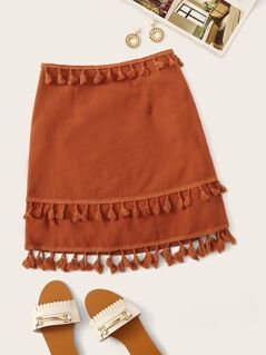 Solid Layered Tassel A-line Skirt