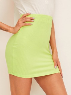 Neon Lime Rib-knit Bodycon Skirt