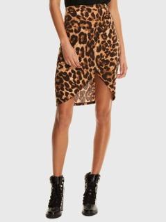 Leopard Print Wrap Split Front Skirt
