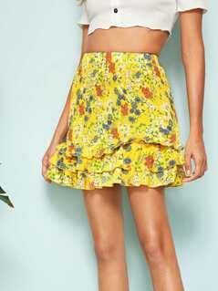 Shirred Layered Ruffle Hem Ditsy Floral Skirt