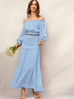 Shirred Panel Frill Trim Maxi Skirt