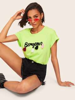 Neon Lime Tassel Detail Letter Embroidery Top