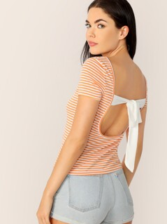 Tied Open Back Striped Top