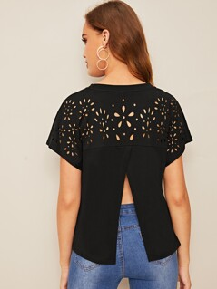 Laser Cut Overlap Back Solid Tee
