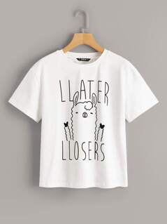 Sheep and Letter Print Tee