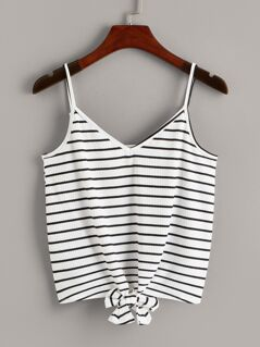 Tie Front Striped Rib-knit Cami Top