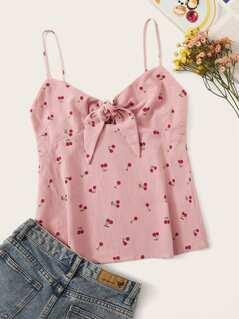 Cherry Print Tie Front Cami Top