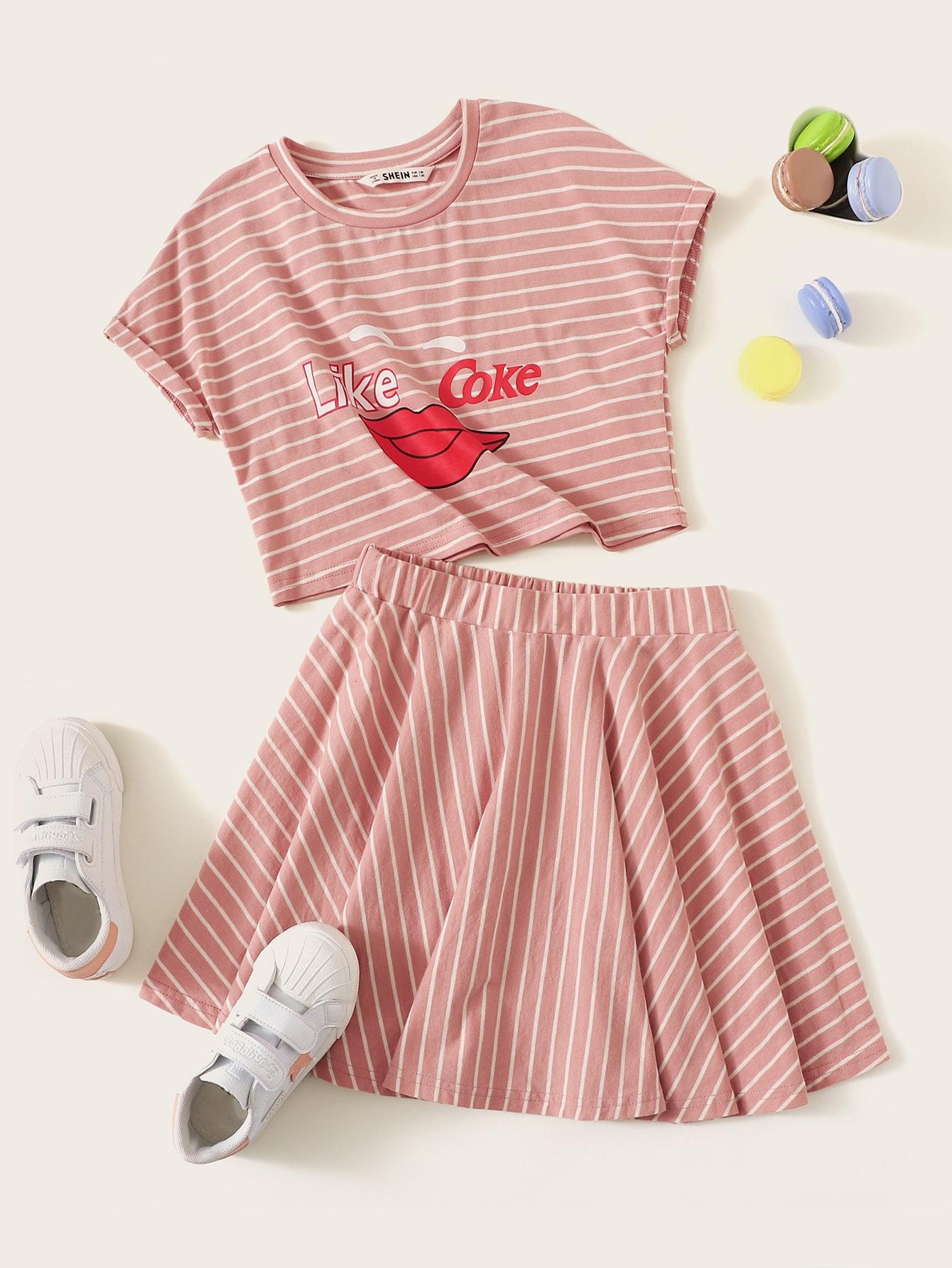 Фото - Топ и юбка с эластичной талией для девочек от SheIn розового цвета