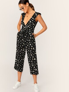 Plunging Neck Ruffle Armhole Slant Pocket Jumpsuit