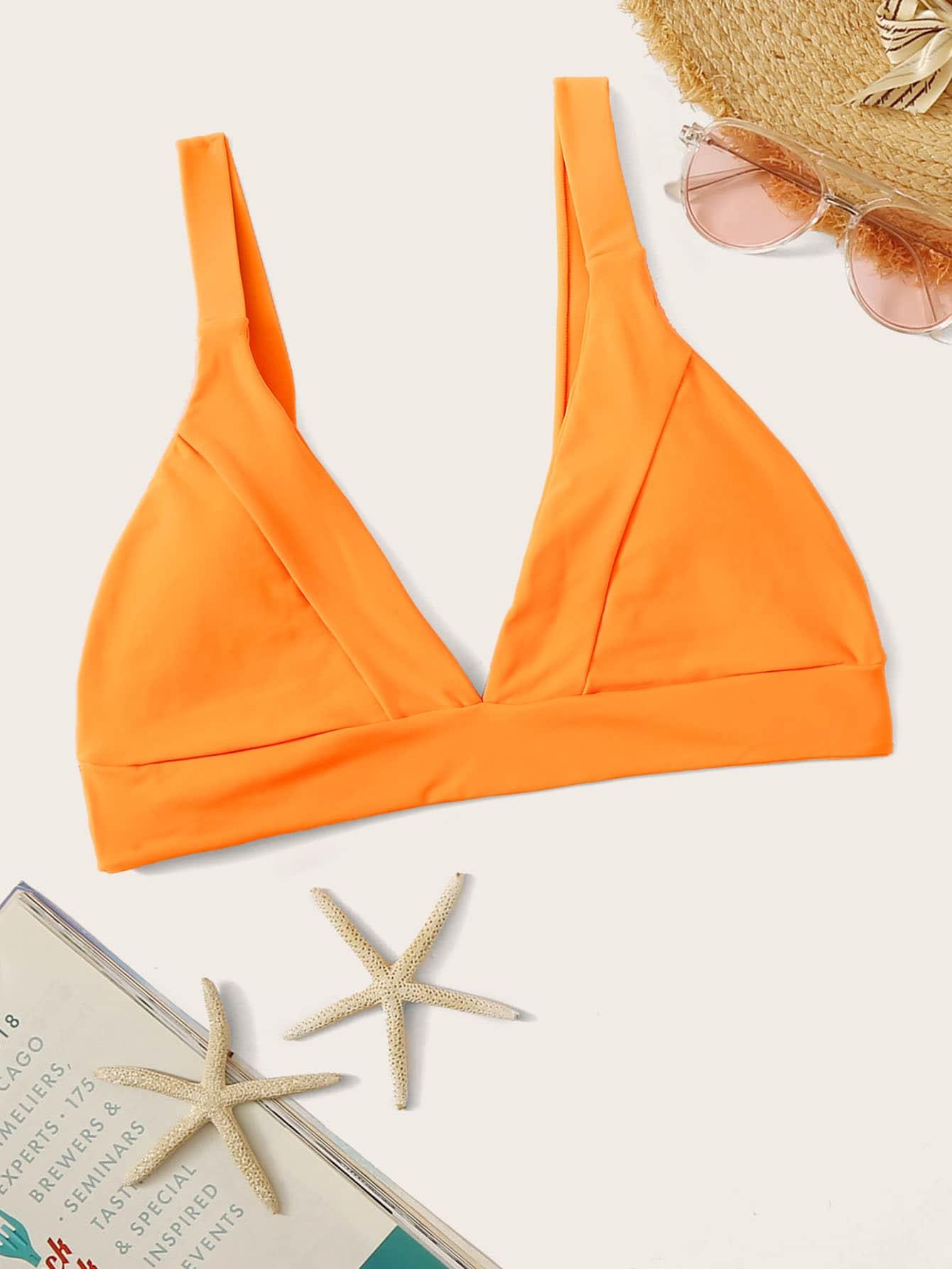Фото - Топ для плавания с треугольными чашечками от SheIn оранжевого цвета