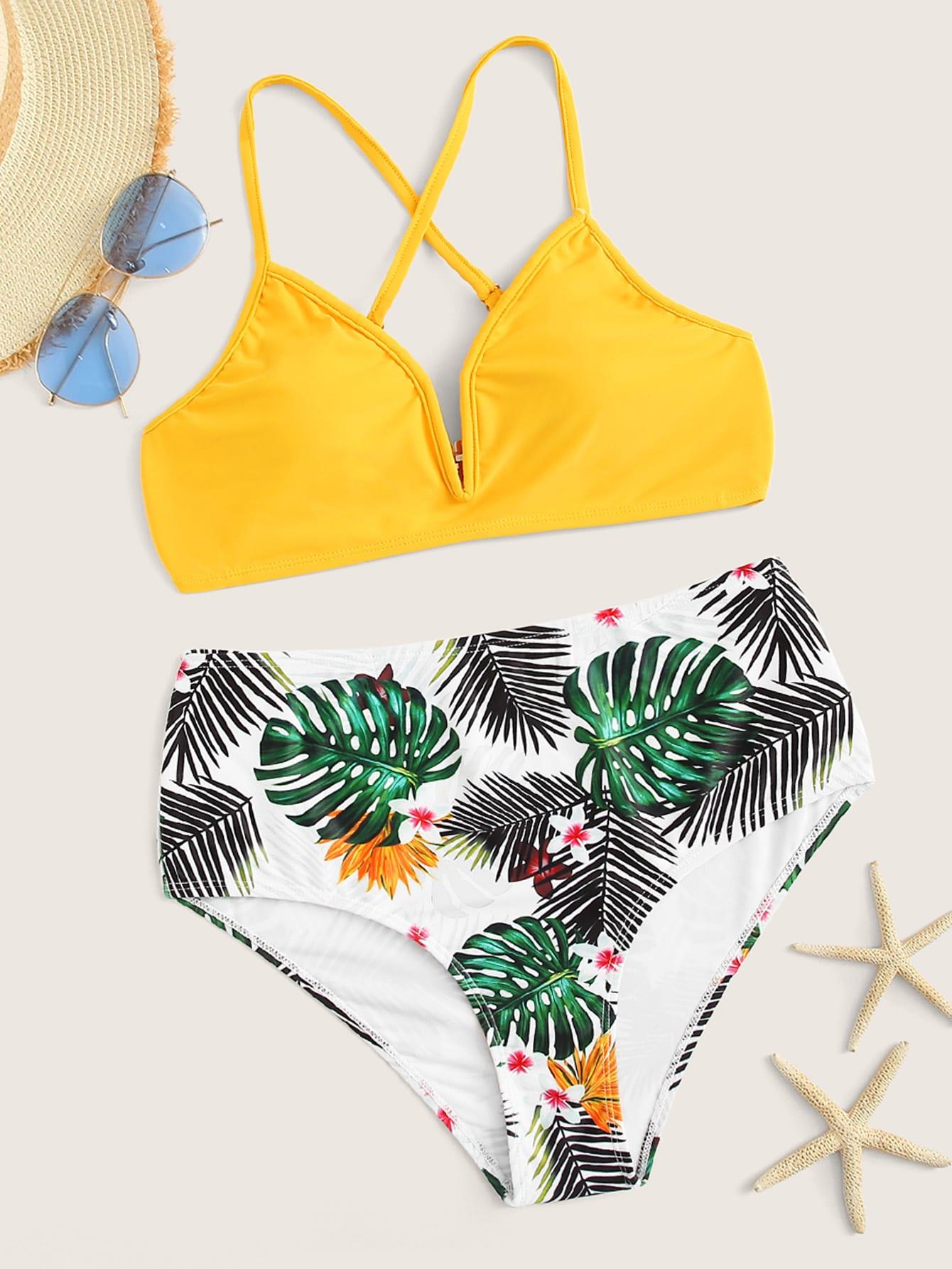 Фото - Бикини с тропическим принтом от SheIn цвет многоцветный