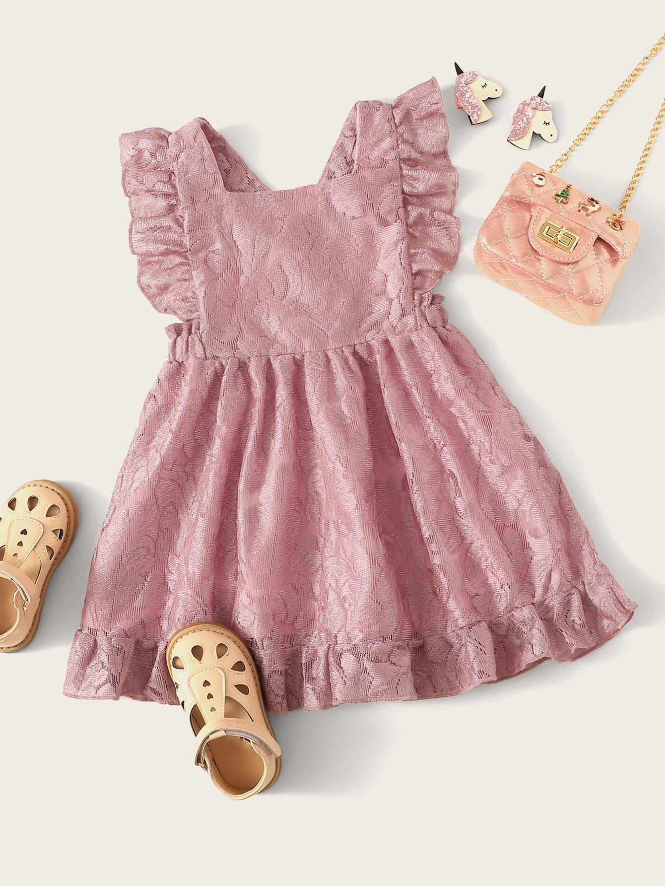 Фото - Платье с оборкой и кружевом для девочек от SheIn цвет розовые