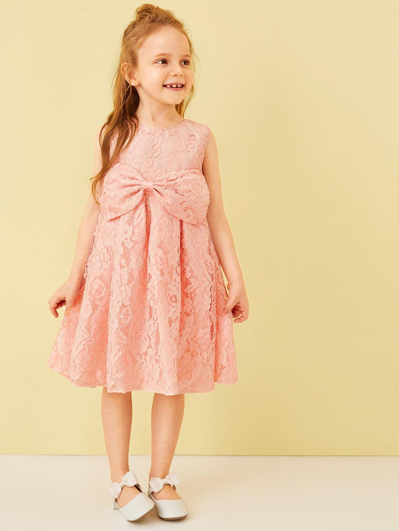 Фото - Платье с узлом и кружевом для девочек от SheIn цвет розовые