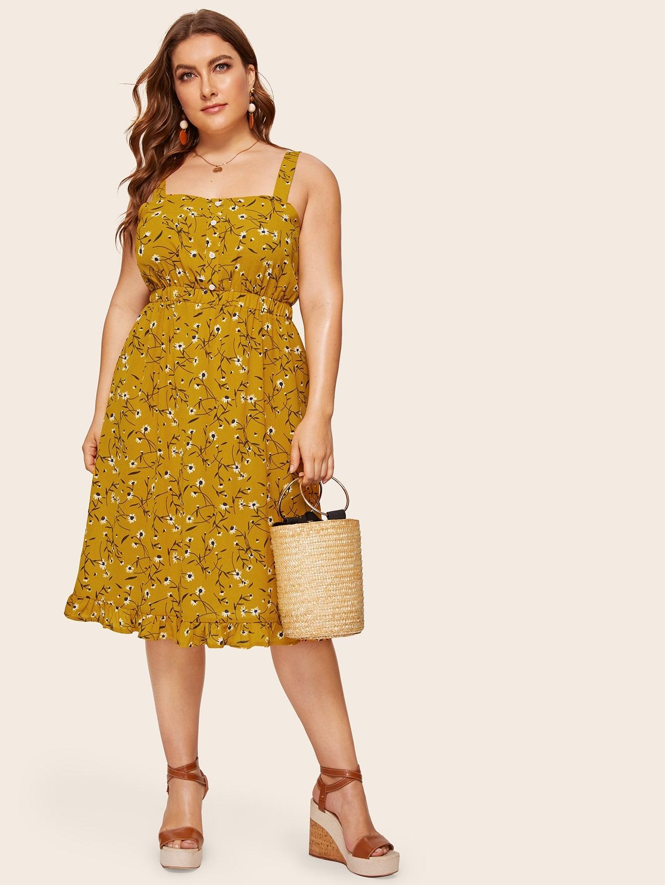 Цветочное платье на бретелях с оборками размера плюс