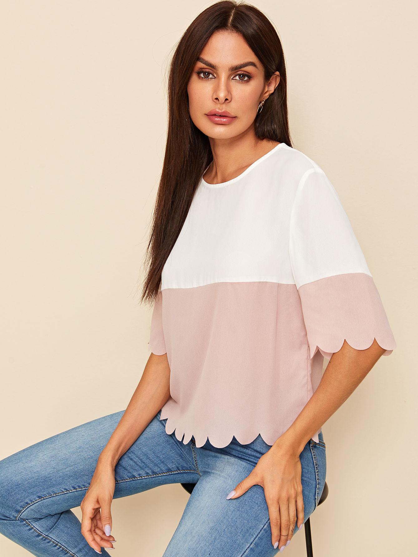 Фото - Контрастная блузка с поясом и оригинальной отделкой от SheIn цвет многоцветный