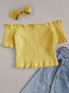 Off Shoulder Shirred Bardot Crop Top