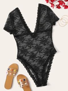 Double V Neckline Sheer Lace Bodysuit