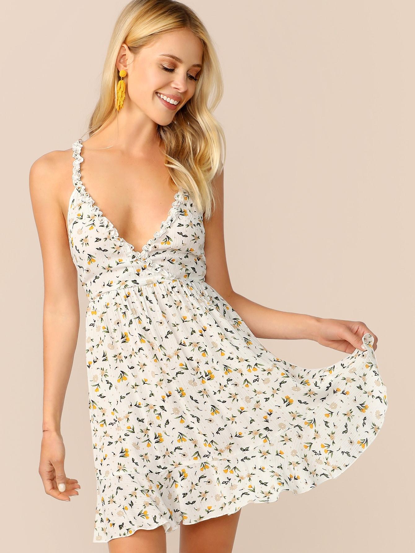 Фото - Цветочное расклешенное платье с завязкой от SheIn цвет многоцветный