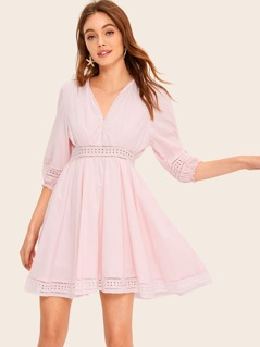 Lace Insert Eyelet Embroidered Panel Swing Dress