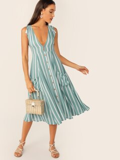 Tassel Tie Shoulder Button Front Striped Plunging Dress