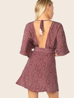 Ditsy Floral Plunging Neck Tied Open Back Dress
