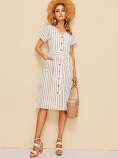 Pocket Front Button Up Self Belted Dress