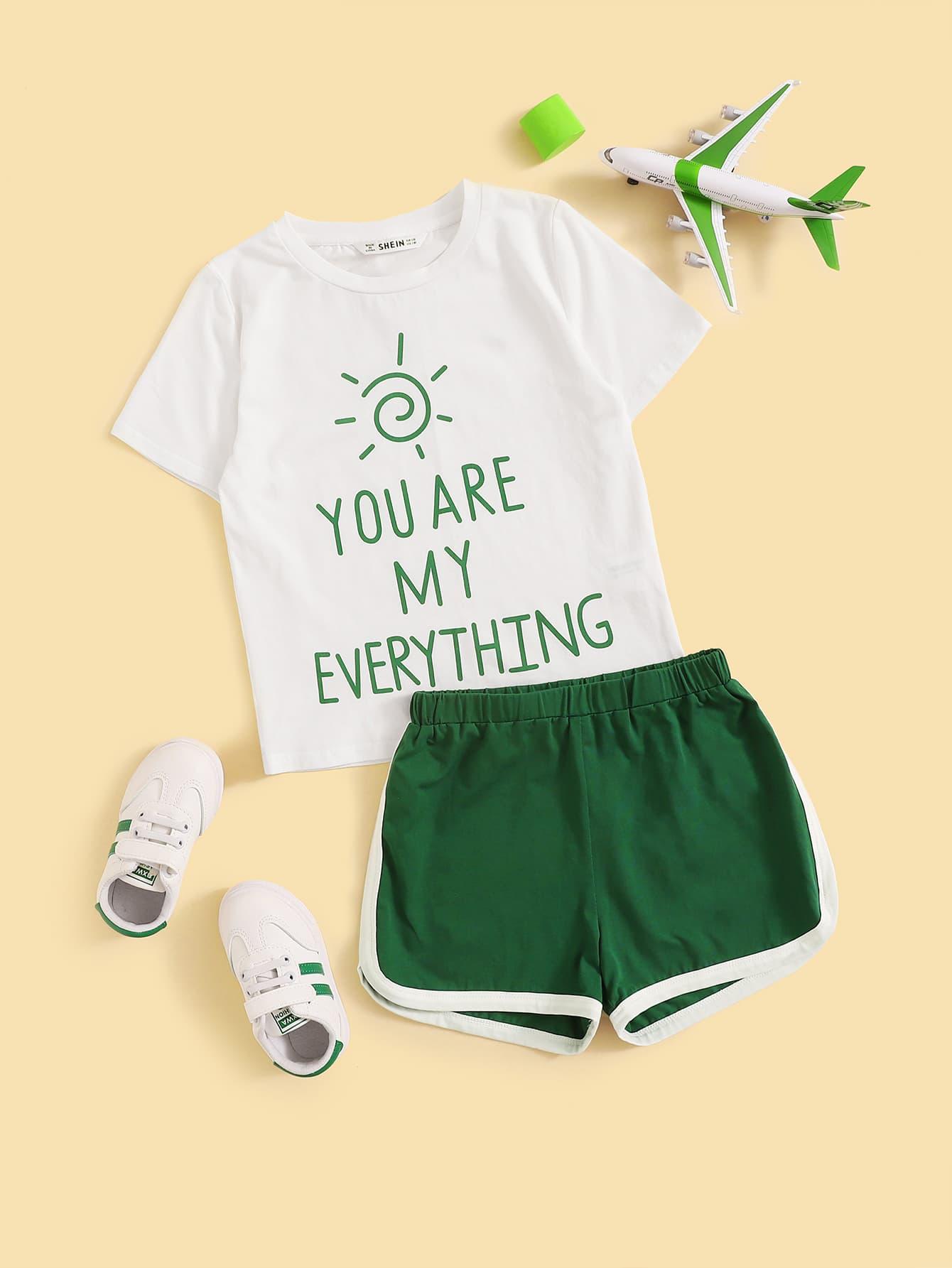 Фото - Пижама с текстовым принтом для девочек от SheIn цвет многоцветный
