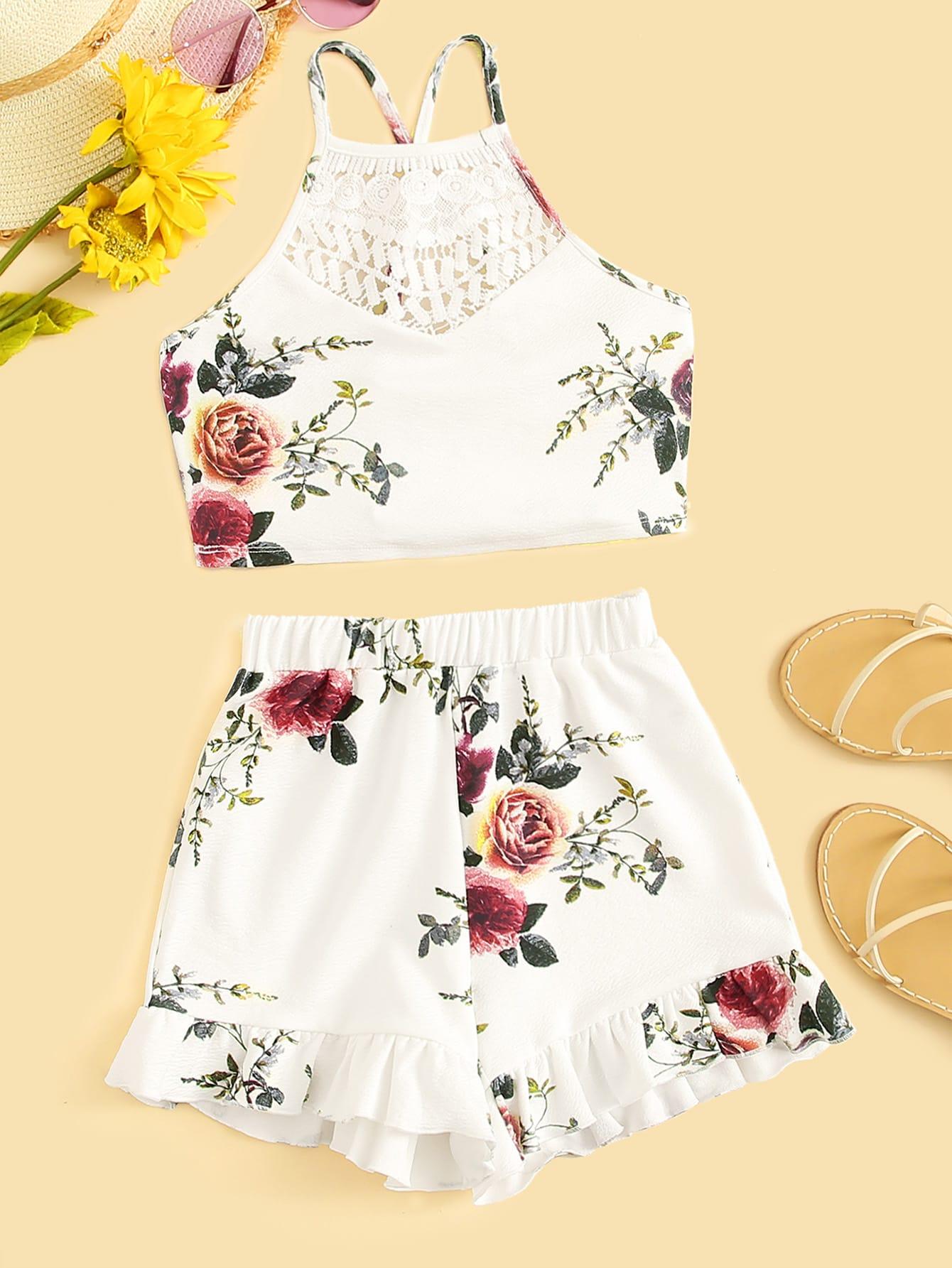 Фото - Топ с кружевной вставкой и шорты для девочек от SheIn белого цвета