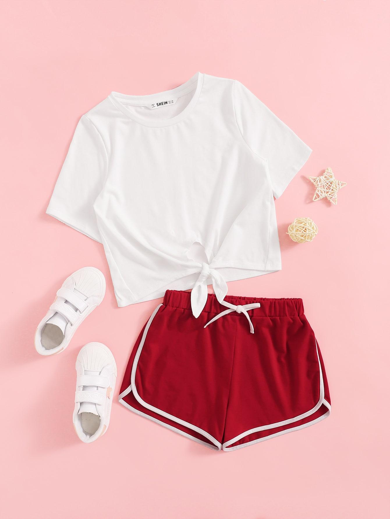 Фото - Футболку с узлом и шорты для девочек от SheIn цвет многоцветный